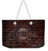Brewers Baseball Graffiti On Brick  Weekender Tote Bag