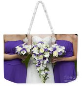 Bride And Bridesmaids With Wedding Bouquets Weekender Tote Bag