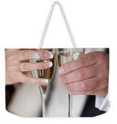 Bride And Groom Champagne Toast Weekender Tote Bag