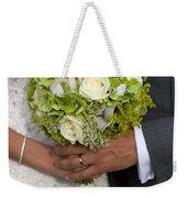 Bride And Groom With Wedding Bouquet Weekender Tote Bag