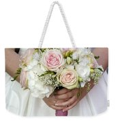 Bride Holding A Bouquet Of Wedding Flowers Weekender Tote Bag