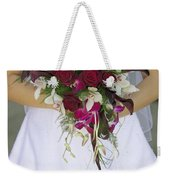 Brides Bouquet And Wedding Dress Weekender Tote Bag