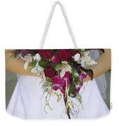 Brides Bouquet And Wedding Dress Weekender Tote Bag