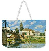Bridge At Villeneuve-la-garenne Weekender Tote Bag by Alfred Sisley