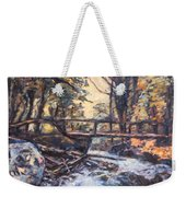 Morning Bridge In Woods Weekender Tote Bag