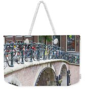 Bridge Over Canal With Bicycles  In Amsterdam Weekender Tote Bag