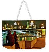 Bridge Over River Near The Kremlin At Night In Moscow-russia Weekender Tote Bag