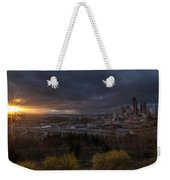 Bright Seattle Sunstar Dusk Skyline Weekender Tote Bag
