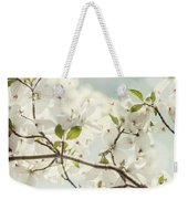 Bright White Dogwood Flowers Against A Pastel Blue Sky With Dreamy Bokeh Weekender Tote Bag