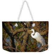 Bright White Heron Weekender Tote Bag