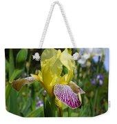 Bright Yellow Purple Iris Flower Irises Weekender Tote Bag