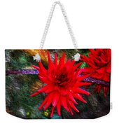Brilliance In An Autumn Garden - Red Dahlia Weekender Tote Bag