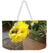 Brilliant Rose Flower With Buzzy Bee Weekender Tote Bag