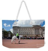 British Royal Guards Riding On Horse And Perform The Changing Of The Guard In Buckingham Palace Weekender Tote Bag