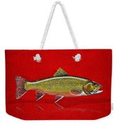 Brook Trout On Red Leather Weekender Tote Bag
