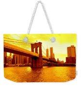 Brooklyn Bridge In Yellow Weekender Tote Bag