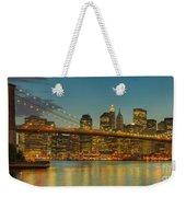 Brooklyn Bridge Twilight Panoramic Weekender Tote Bag