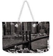 Brooklyn Bridge View In Sepia Weekender Tote Bag