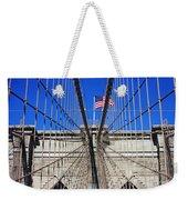Brooklyn Bridge With American Flag Weekender Tote Bag