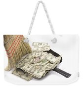 Broom Sweeping Up American Currency Weekender Tote Bag