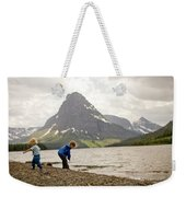 Brother And Sister Playing Near A Lake Weekender Tote Bag