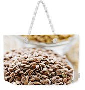 Brown And Golden Flax Seed Weekender Tote Bag