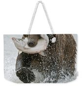 Brown Bear With Salmon Catch Weekender Tote Bag by Gary Langley