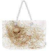 Brown Egg In Bird Nest Sepia Weekender Tote Bag