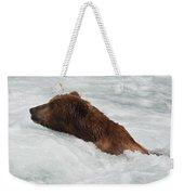 Brown Grizzly Bear Swimming  Weekender Tote Bag