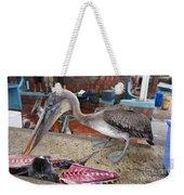 Brown Pelican At The Fish Market Weekender Tote Bag