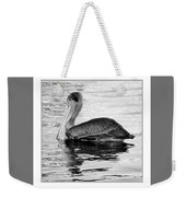Brown Pelican - Black And White Weekender Tote Bag