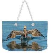 Brown Pelican Taking Off Weekender Tote Bag