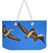 Brown Pelicans In Flight Weekender Tote Bag