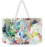 Bruce Springsteen Playing The Guitar Watercolor Portrait Weekender Tote Bag by Fabrizio Cassetta