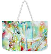 Bruce Springsteen Playing The Guitar Watercolor Portrait.1 Weekender Tote Bag by Fabrizio Cassetta