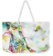 Bruce Springsteen Playing The Guitar Watercolor Portrait.2 Weekender Tote Bag
