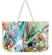 Bruce Springsteen Playing The Guitar Watercolor Portrait.3 Weekender Tote Bag by Fabrizio Cassetta