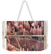 Bryce Canyon Utah View Through A White Rustic Window Frame Weekender Tote Bag