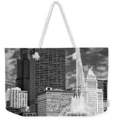 Buckingham Fountain Sears Tower Black And White Weekender Tote Bag