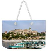 Buda Castle And Boats On Danube River Weekender Tote Bag