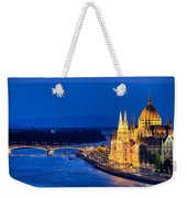 Budapest By Night Weekender Tote Bag