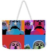Buddha Pop Art - 4 Panels Weekender Tote Bag by Jean luc Comperat
