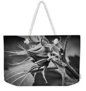 Budding Sunflower In Black And White Weekender Tote Bag