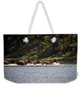 Buffalo Crossing - Yellowstone National Park - Wyoming Weekender Tote Bag