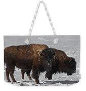 Buffalo In Snow Weekender Tote Bag