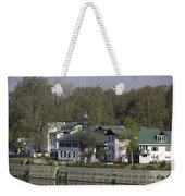 Buildings On The Shore Of Section Of Dal Lake In Srinagar Weekender Tote Bag