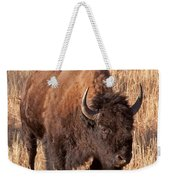 Bull Bison Running In Yellowstone National Park Weekender Tote Bag