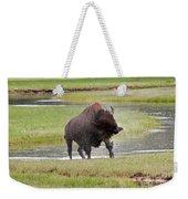 Bull Bison Shaking In Yellowstone National Park Weekender Tote Bag