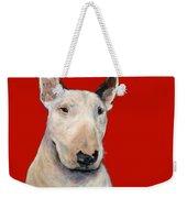 Bull Terrier On Red Weekender Tote Bag