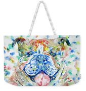 Bulldog - Watercolor Portrait Weekender Tote Bag